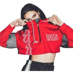 LF Red Black Mesh Logo Cropped Pullover Sweatshirt Top
